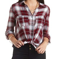 Flyaway Plaid Button-Up Tunic Top by Charlotte Russe - Burgundy Cmb