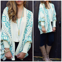 Weekend Expedition Ivory & Teal Dolman Sleeve Cardigan
