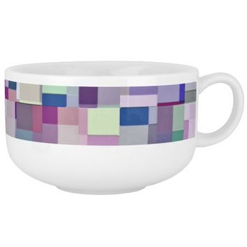 """Geeky Paper Scraps 12"" Abstract Art Soup Mug"