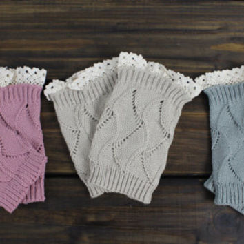 Womens Knitted Boot Cuffs, Lacy Boot Socks, Legwarmers, Gray Boot Cuffs, Knitted Boot Toppers, Open Knit Cuffs, Stretchy and Cozy Boot Cuffs
