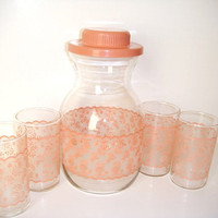 Pink Lace Juice Carafe and Juice Glasses
