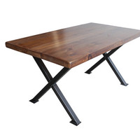 Modern X frame Wood Desk. Reclaimed wood and steel base in your choice of style and size.