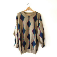 vintage oversized sweater. abstract diamond sweater. slouchy pullover