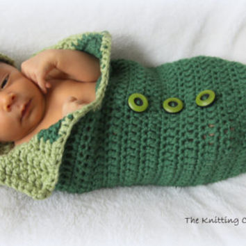 Crochet Baby Cocoon and Hat Pattern - Newborn Photo Prop - Pea in a Pod