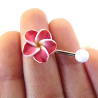 Red Hawaiian Flower Plumeria Belly Button Ring Hawaii Navel Stud Jewelry Bar Barbell Piercing Tropical Hibiscus
