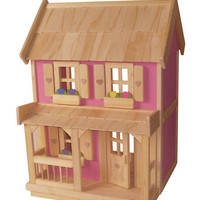 Wooden Doll House with 7-piece Furniture Package, fits Barbie or any doll up to 11 1/2 inches tall