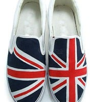 Union Jack Canvas TPR Sole Womens Painted Shoes -  Milanoo.com