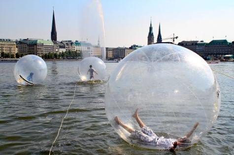 Walk Water Balls on Lake Alster in Hamburg, Germany