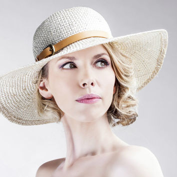 Natural Straw Sun Hat - New Summer Ivory Hats - Festival Fedora - Handmade Leather Beige Trim - Women's - Any Size - Custom Made