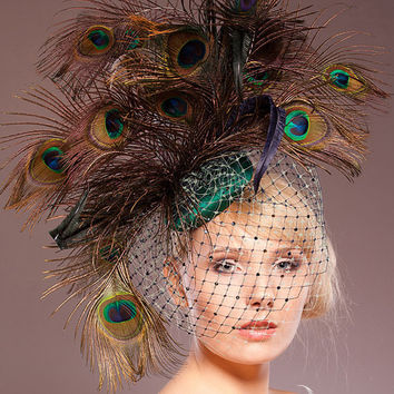 Peacock Headpiece - Spectacular Oversized - Vintage Inspired Weddings Fascinator Races Emerald Green Navy Feathers French Netting Couture