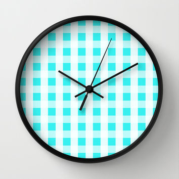 Plaid Flannel Turquoise Mint Wall Clock by Beautiful Homes