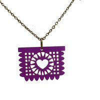 Papel Picado Laser Cut Necklace- Purple with Bronze Chain