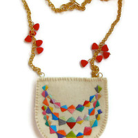 Boho colorful necklace embroidered banner bunting triangle on gold chain with red triangle beads