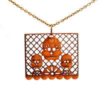 Papel Picado Necklace- Amber Bamboo Skulls