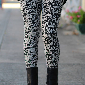 Floral Filigree Leggings {Black/Beige}