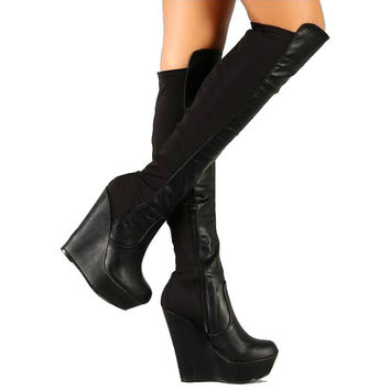 Booth-08 Black Stretchy knee High Boots Wedge Heels