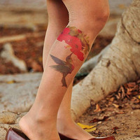 Tattoo Tights - HUMMINGBIRD with Hibiscus flower  - size S /  M / L  full length colors Nude,Vanilla.