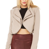 Double Zipper Harley Jacket in Beige