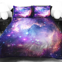 Purple galaxy quilt cover galaxy duvet cover galaxy sheets space sheets outer space bedding set bedspread with two matching pillow covers