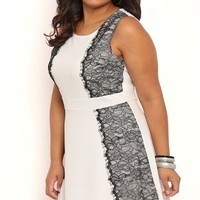 Plus Size Skater Dress with Lace Sides and Tank Straps