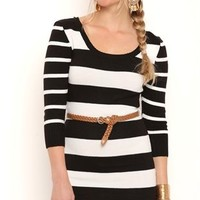 Striped Sweater Knit Tunic Dress with Three Quarter Sleeves