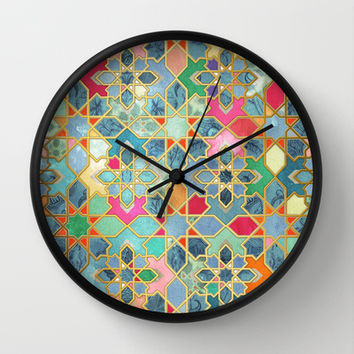Gilt & Glory - Colorful Moroccan Mosaic Wall Clock by micklyn