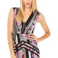 Bariano V Neck Panel Mini Dress