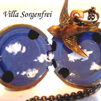 Vintage Ball Locket with HANDPAINTED clouds and  little bird