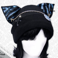 Cat Kitty Fleece Hat  Anime Cosplay Punk JRock  (Tiger Blue Ears)