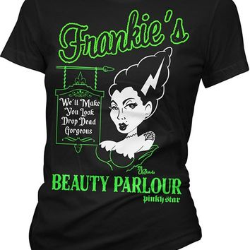"Women's ""Frankies Beauty Parlour"" Tee by Pinky Star (Black)"
