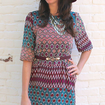 Tribal Diamond Print 3/4-Sleeve Shift Dress - Fuchsia/Multi – H.C.B.