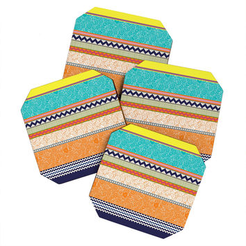 Sharon Turner Seaview Beauty Stripe Coaster Set