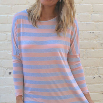 Long Sleeved Striped Comfy Tunic Top - Heather Gray/Pink