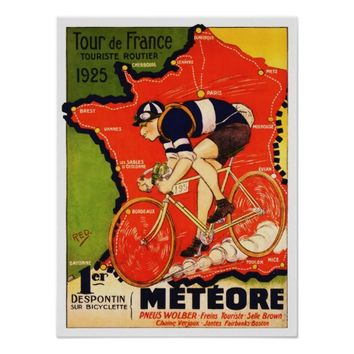 Vintage Bicycle ad, 1925 bike race in France