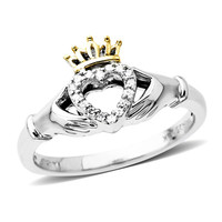 Diamond Accent Claddagh Ring in Sterling Silver and 14K Gold