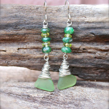 Sea Glass Earrings - Sea Glass Jewelry from Hawaii - Beach Boho Jewelry - Green Seaglass Jewelry made in Hawaii - Hawaii Earrings