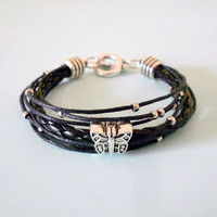 Butterfly Boho Ethnic Bracelet in Antique Silver and Black Braided Leather & Cotton Cord from New World