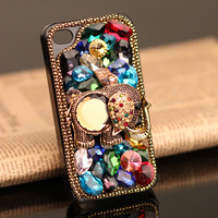 Gullei Trustmart : iPhone 4S 4G 3GS elephant case artificial rhinestone colorful crystals cover [GTMIPC001] - $37.00-Couple Gifts, Cool USB Drives, Stylish iPad/iPod/iPhone Cases &amp; Home Decor Ideas