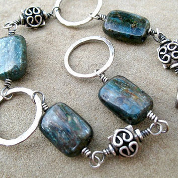 Blue Kyanite Bracelet, Sterling Silver, Fine Silver, Wire Wrapped, Bluish Green, 8 Inch Bracelet