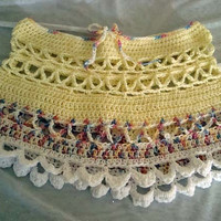 Crocheted Bright Yellow Fun Womens Beach Skirt