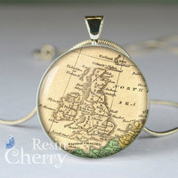 vintage United Kingdom pendant charm,England map resin pendants- M0642CP