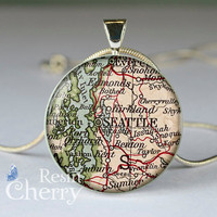 Seattle map charm jewelrys,vintage map pendant charms,map resin pendant,Washington- M0172CP