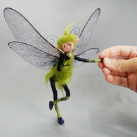 Jointed doll. Sprite ooak. Fantasy art. Miniature doll. Elf, fairy. Dragonfly
