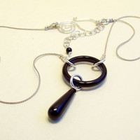 Black Onyx Pendant Necklace on Sterling Silver Chain