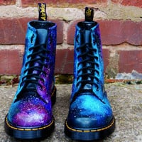 Galaxy Cosmic Gothic Print Dr Martens. Hand Painted . made to order. any size