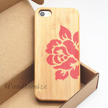 Real wooden printing case for iPhone 5 5c 5s iPhone 4 4s, FREE screen protector, pink & black floral flower print, bamboo cherry wood - W43