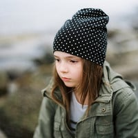 Girl hat black and white dots, every day hat, autumn girl hat