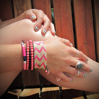 The Bohemian Bracelet Set - In Pink, Linen, Navy, and Dark Pink  leather wrap bracelet studded friendship bracelet