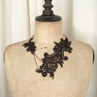 Magnolia black lace necklace by StitchFromTheHeart on Etsy