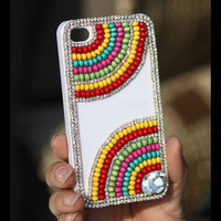 Gullei Trustmart : iPhone 4S 4G 3GS beads cover colorful white hard case [GTMSP0154] - $33.00-Couple Gifts, Cool USB Drives, Stylish iPad/iPod/iPhone Cases &amp; Home Decor Ideas